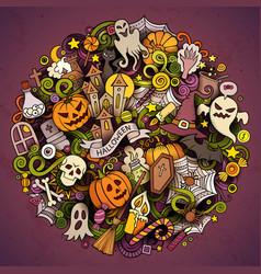 Cartoon hand drawn doodle halloween circle vector