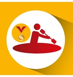 Olympic gold medal canoe rowing vector