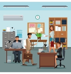 People workplace with desk bookshelf cabinet clock vector