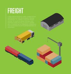 Freight shipment isometric banner vector