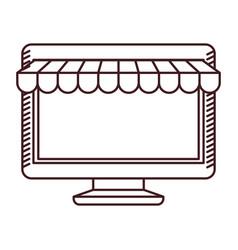 Monochrome silhouette of desktop computer online vector