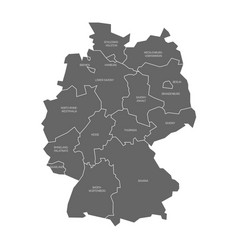 map of germany devided to 13 federal states and 3 vector image