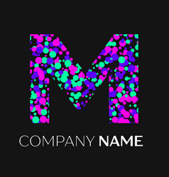 letter m logo with pink purple green particles vector image