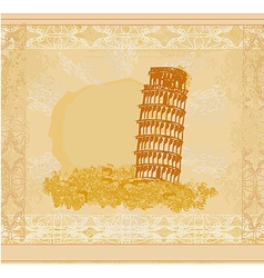 Vintage pisa tower background vector
