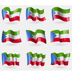 Set of equatorial guinea flags in the air vector