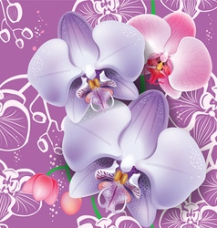 Seamless floral pattern with pink orchid vector