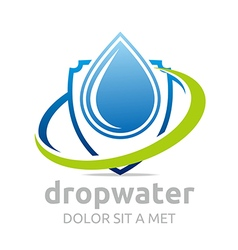 Logo drop water pure shapes symbol design icon vector