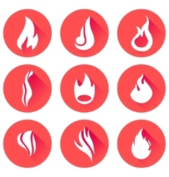 Fire flames icon set vector