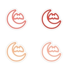 Assembly sticker new moon and a bat on white vector