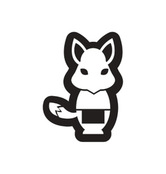 Style black and white icon fox waiter vector