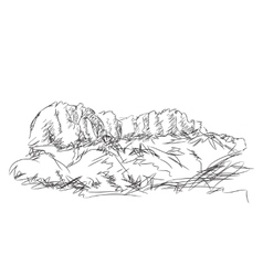 Mountain peak hand drawn vector