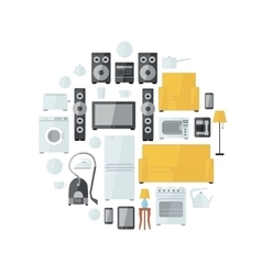 Household appliances flat colourful icons drawn up vector
