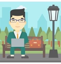 Businessman working on laptop outdoor vector