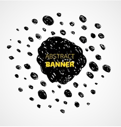 Abstract black scribble dots circle frame banner vector