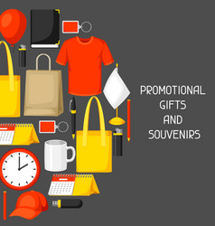 advertising background with promotional gifts and vector image