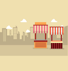 Art of street stall landscape vector