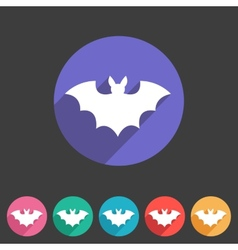 Bat flat halloween icon badge vector