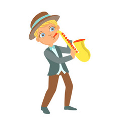 Boy playing jazz on saxophone kid performing on vector