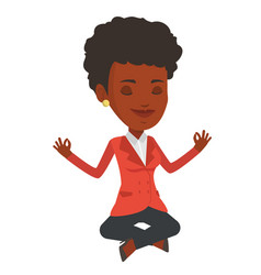 Business woman meditating in lotus position vector