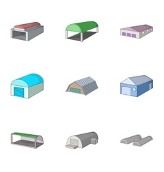 Car garage icons set cartoon style vector