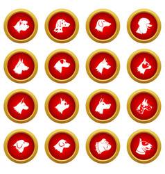 Dog icon red circle set vector