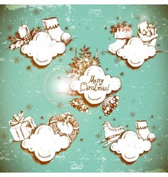 Doodle New Year and Christmas frame vector image vector image
