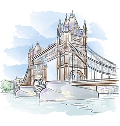 drawing color tower bridge in london uk vector image vector image
