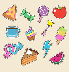 Fruit pizza coffee and candy stickers vector
