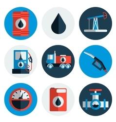 Gas trade flat icon set vector