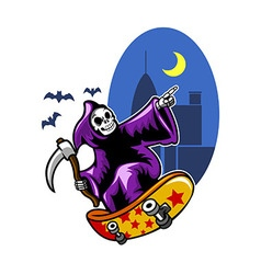 Grim Skating On Black City Night vector image