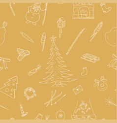 hand drawn seamless winter pattern happy new year vector image