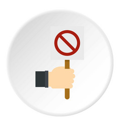 hand holding stop sign icon circle vector image