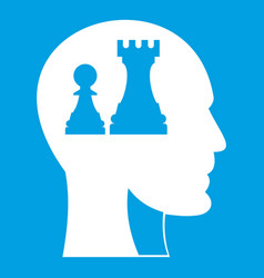 Head with queen and pawn chess icon white vector