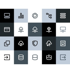 Hosting and wireless network icons flat vector