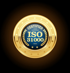 Iso 31000 standard medal - risk management vector