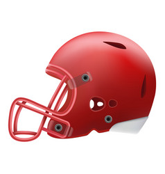 Modern red american football helmet side view vector