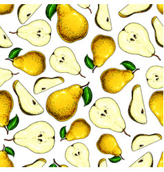 pear seamless pattern hand drawn full and vector image vector image