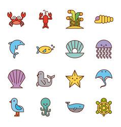 Sea life icons set flat draw vector