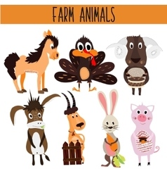 Set of cute cartoon animals and birds of the farm vector