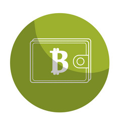 Sticker bitcoin symbon in the wallet to save money vector