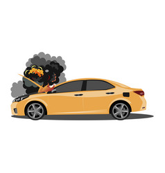 the broken car is covered with fire and smoke vector image vector image