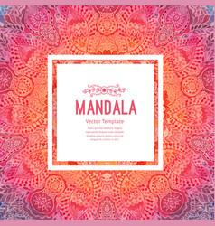 Watercolor mandala square background decor for vector