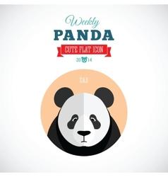 Weekly panda cute flat animal icon - sad vector
