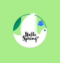 White bird with bluebell flower spring lettering vector