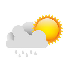 white cloud rain with sun vector image vector image