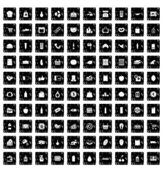 100 supermarket icons set grunge style vector