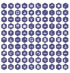 100 water recreation icons hexagon purple vector