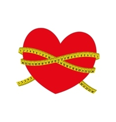Meter heart yellow tape measure tool icon vector