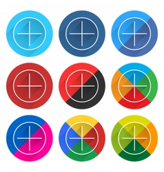 Flat popular social network web icon round button vector