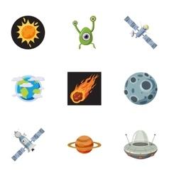 Universe icons set cartoon style vector